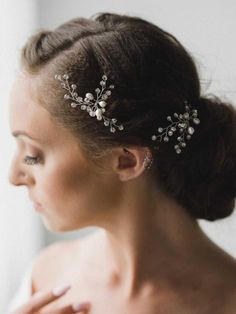 Venusvi Bridal Hair Accessories Crystal Flower Vine for Wedding and Party (Pack of 2) ** Learn more by visiting the image link.