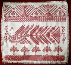 A redwork piece I designed myself based in part from an Arkhangelsk motif. Russian Embroidery, Blackwork Embroidery, Folk Embroidery, Modern Embroidery, Embroidery Patterns, Cross Stitch Patterns, Scandinavian Embroidery, Scandinavian Pattern, Scandinavian Design