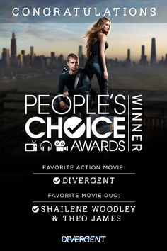 Thank you for making Divergent your Favorite Action Movie & Favorite Movie Duo (Sheo) People's Choice Award winners! Love these to amazing acting duo ! Divergent Fandom, Divergent Trilogy, Divergent Insurgent Allegiant, Movie Duos, Shailene Woodley, Choice Awards, Book Fandoms, Action Movies, Hunger Games