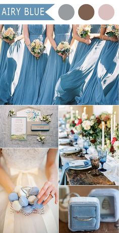 airy light blue and neutral fall wedding color schemes 2016