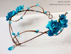 Fantasy Tiara. Blue Fairy crown, faery diadem, forest inspiration. Muse Suite by MuseSuite on Etsy https://www.etsy.com/listing/275489122/fantasy-tiara-blue-fairy-crown-faery