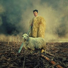 """""""Doina""""-- Balad of a shepard, essential myth in Romanian folklore, that of Balada Miorita. Stunning digital art by Caras Ionut, Ps Tutorials, Places Worth Visiting, Learn Photoshop, Photo Manipulation, Romania, Pixel Art, Amazing Photography, Sheep, Cool Pictures"""