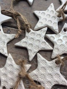 Handmade Ceramic White Star Ornament With Daisy Design Christmas Gift Tags Decorations Wedding Favours Made With White Clay - Weihnachten Christmas Clay, Christmas Gift Tags, Diy Christmas Ornaments, Xmas, White Christmas, Christmas Holiday, Handmade Christmas Gifts, Christmas Christmas, Clay Ornaments