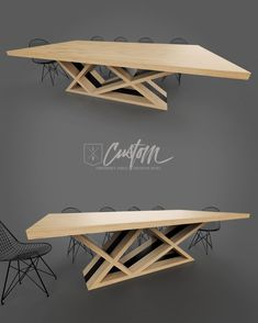 8ft Ash + Steel Contemporary Dining Table. Clean + Modern. IRcustom.com