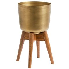 Mid-Century Brass Planter with Stand | Nordal