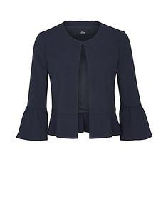 s.Oliver BLACK LABEL Kurzer Crêpe-Blazer mit Volants Blazer, Blouse, Long Sleeve, Sleeves, Jackets, Tops, Women, Fashion, Blouse Band