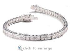 The Ziamond cubic zirconia Princess Cut Channel Set Tennis Bracelet is featured in 14k white gold.  $1195 #ziamond #cubiczirconia #cz #bracelet #princesscut #channelset #14kwhitegold