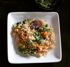 Roasted Vegetables Quinoa with Carrot Top Pesto