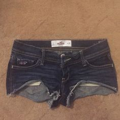 Hollister Shorts Dark denim Hollister mini shorts. Very short & sexy. Have been worn but still wearable ❤️ **Final Sale** Hollister Jeans