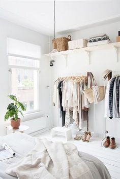 Open shelving and #storage racks are sometimes a necessity for a #bedroom without a #closet