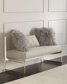 Shop Merrilee Acrylic Bench from Bernhardt at Horchow, where you'll find new lower shipping on hundreds of home furnishings and gifts. Upholstered Furniture, Furniture Decor, Living Room Furniture, Living Room Decor, Furniture Design, Bedroom Decor, Lucite Furniture, Brown Furniture, Wood Bedroom