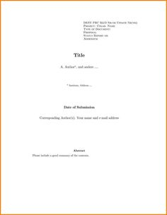 cover page for report