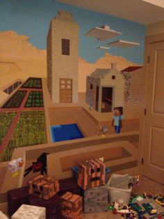 ... not that I know the first thing about the world of Minecraft... But it does look kind of cool. (Minecraft bedroom decor...)