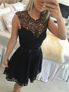 Black Homecoming Dress,Lace Prom Dr