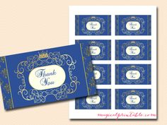 Royal Prince Baby Shower Game Pack, thank-you-notes