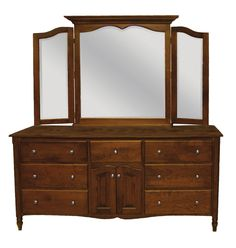 Amish Country Furnishings - Delafield Collection – Triple Dresser with Tri-view Mirror