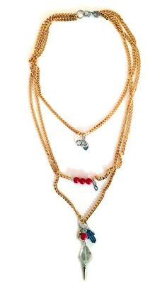 Valentine's Day necklace in gold, coral and hamsa. - Maiden-Art  - 1