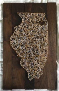 Illinois - Chicago Love - String Art by TheGreatStateOfMine on Etsy https://www.etsy.com/listing/246310980/illinois-chicago-love-string-art