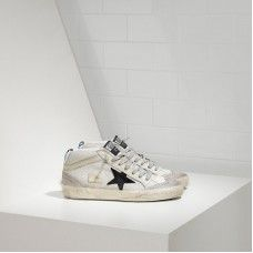 Golden Goose Mid Star Chaussures In Bonded Fabric With Suede Star Femmes Blanc Noir Soldes
