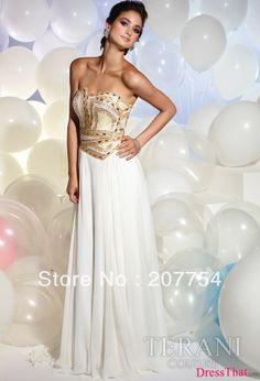 white and gold prom dresses | Wedding Bend | Pinterest | Beautiful ...