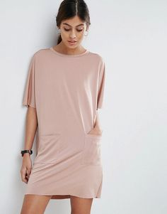 Slinky T-Shirt Dress With Pockets by Asos. Dress by ASOS Collection, Soft-touch slinky jersey, Crew neck, Short sleeves, Front pockets, Relaxed fit, Machine was...