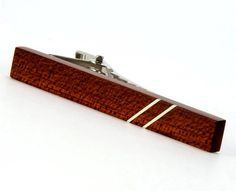 Mens Tie Bar - Bloodwood Silver Inlay - Wood Tie Pin