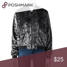 Black crush velvet bomber jacket Product Details This juniors' Cloudchaser bomber jacket provides incomparable style.  PRODUCT FEATURES Banded trim Zip front Long sleeves Supersoft velvet construction 2 snap pockets FABRIC & CARE Polyester, spandex Machine wash Bundles available! (J) Cloud Chaser Jackets & Coats