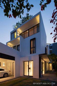 Mẫu nhà phố đẹp màu trắng hiện đại tại Singapore