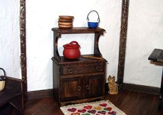 Rustic Hutch Cabinet Dollhouse Miniature 1/12 by CalicoJewels, $42.00