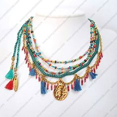 G53300 Hippy Chic, Boho Chic, Boho Hippie, Tassel Necklace, Layer Necklace, Beaded Necklaces, Jewelry Rings, Jewelery, Bohemian Jewellery