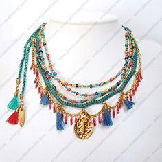 G53300 Boho Necklace, Layer Necklace, Jewelry Rings, Jewelery, Bohemian Jewellery, Summer Jewelry, Leather Tassel, Hippie Chic, Gypsy Style
