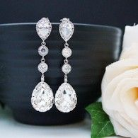 Swarovski crystal and cubic zirconia connectors bridal earrings from www.earringsnation.com