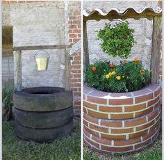 Recycle old tires into a wishing well Garden Deco, Garden Yard Ideas, Garden Crafts, Garden Projects, Garden Landscaping, Outdoor Projects, Outdoor Decor, Diy Planter Box, Garden Landscape Design