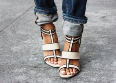 Nude and Black Sandals