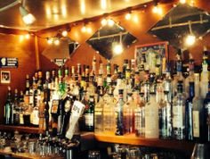 The beautiful & rustic RNR bar, right now without the friendly, beautiful bartenders behind it! Full bar, as you can see!