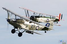 Hawker Hind (light bomber development of Hawker Hart fighter) in foreground with Avro Tutor trainer, representing the inter war period. Both however were still serving at outbreak of WWII, & saw some limited combat,particularly in Middle East. © Shaun Schofield - www.globalaviationresource.com