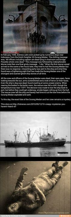 Ghost Ship? Entire crew found dead on board with open eyes - outstretched arms and look of horror on their faces. Even the ship's dog found dead - a snarl still on its lips.