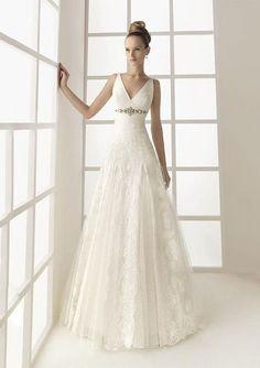 Wedding dresses Online Shop, Buy Graceful A-line Embroidery V-neck Wedding Dress in Iedress