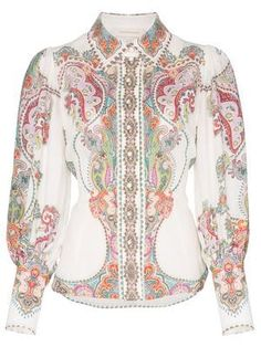 The Ninety-Six Filigree Shirt in Lennon Paisley from our Spring 2019 Ready To Wear Collection. This statement shirt is tailored through the bodice and has placement paisley print throughout. ramie, tailored bodice, blouson sleeves with elongated cuff, pl Printed Linen, Printed Blouse, Bandana Print, Boutique, Paisley Print, Ready To Wear, Women Wear, How To Wear, Filigree