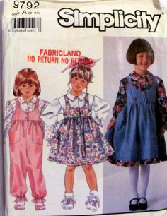 Simplicity 9792, Vintage Girl's Jumper, Girls Jumpsuit, Girls Blouse Sewing Pattern, Sizes 2 to 6X, Super Cute Girls Clothing Pattern by OnceUponAnHeirloom on Etsy