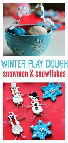 Winter Play Dough - love the Baker's twine on the snowmen! Fun winter sesnory idea for preschool.