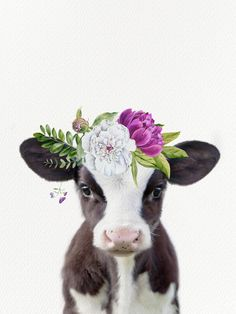 Baby Cow With Flower Crown Graphic Hoodie by Amy Peterson Art Studio - Unisex Pullover Black - LARGE - Front Print - Pullover Cute Baby Cow, Baby Cows, Cute Cows, Cute Baby Animals, Farm Animals, Cute Babies, Crown Art, Fluffy Cows, Image Deco