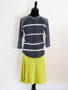 Lularoe Randy tee and Azure skirt - grey stripes and citron green! Love it! Perfect for spring. HTTPS://Facebook.com/groups/lularoesararoche