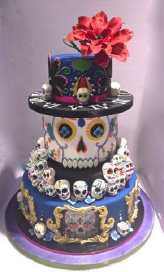 Amazing Halloween-inspired and Other Imaginative Cake Designs - Sugar Skull Cake Pretty Cakes, Cute Cakes, Beautiful Cakes, Amazing Cakes, Crazy Cakes, Fancy Cakes, Pink Cakes, Bolo Halloween, Halloween Torte