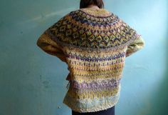 Handmade Icelandic style light yellow and mustard wool sweater by TASSSHA on Etsy