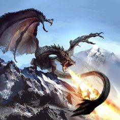 Aumulag (On/Strong/Burn) - Northern Dragon Mythological Creatures, Fantasy Creatures, Mythical Creatures, High Fantasy, Fantasy World, Tiamat Dragon, Dragon Medieval, Legendary Dragons, Dragon Artwork