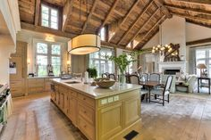 Great The Kitchen Opens To A Stunning Great Room. I Am Loving The Plank Hardwood  Floors And The Reclaimed Barn Wood Ceiling. French Country Home Interior  Design.