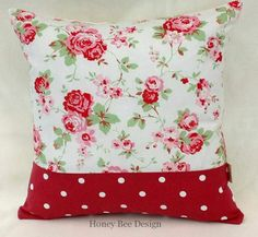 White Throw Pillow Cover Decorative Floral by honeybeedesign20, £6.95