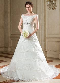 A-Line/Princess Off-the-Shoulder Chapel Train Organza Satin Wedding Dress With Lace Beading Sequins #wedding #dress