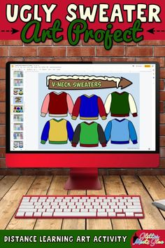 Need easy, digital Christmas art projects for kids that work for both in-person and distance learning? Make an ugly sweater with festive holiday graphics in Google Slides using basic computer skills. Winter-themed graphics like mittens, snowman, & snowflakes included for kids who don't celebrate. Use this art lesson to teach about space. Incorporate literacy into your lessons with the included writing prompts! Perfect for 1st grade through 5th grade elementary students. | Glitter Meets Glue Christmas Art Projects, Christmas Arts And Crafts, Projects For Kids, Winter Theme, Holiday Festival, Elementary Art, Ugly Sweater, Art Lessons, Literacy
